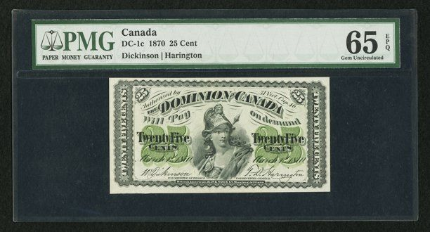 Canadian Currency: , DC-1c 25¢ 1870. ...