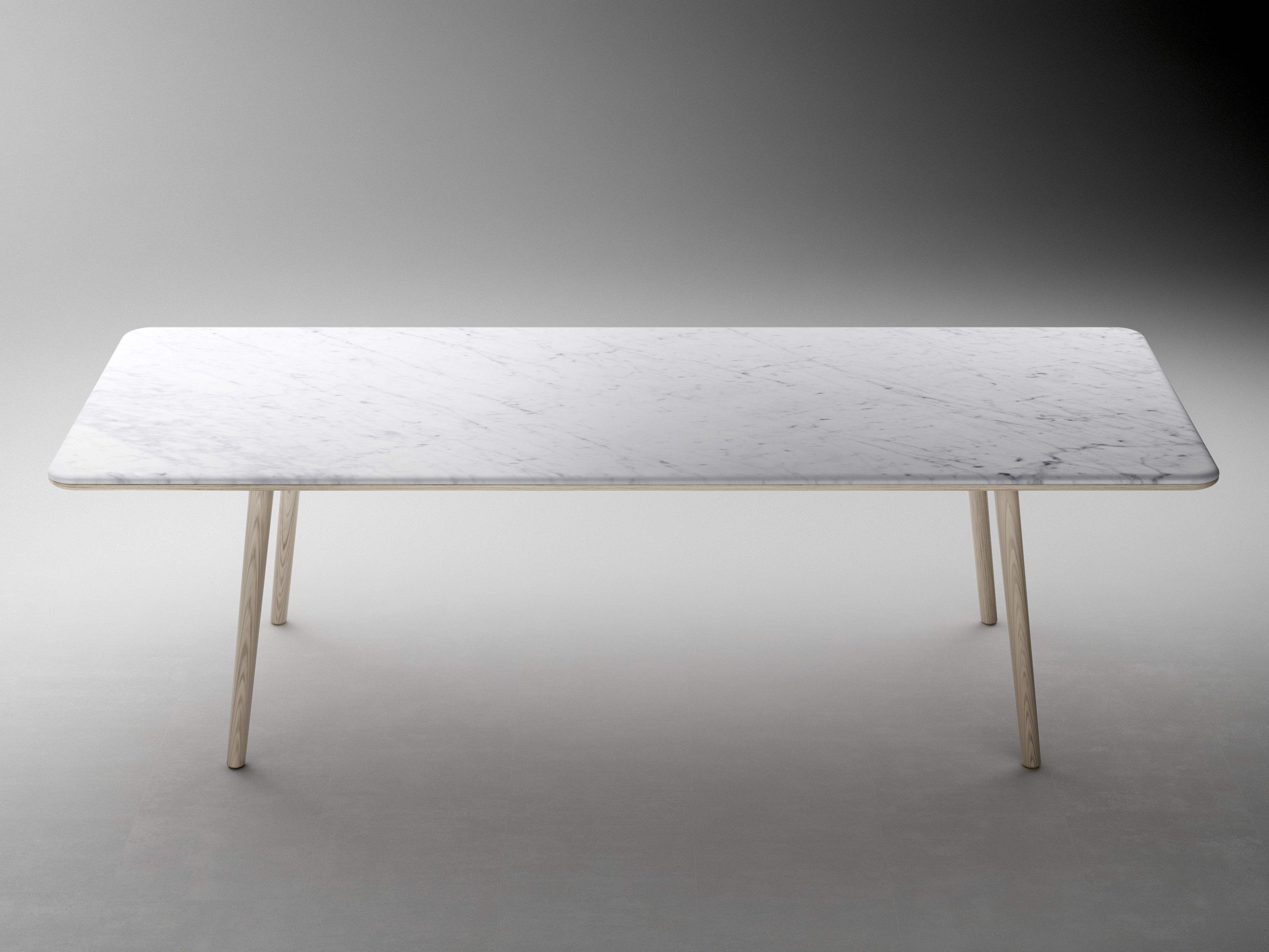 Beau Rectangle Long White Marble Table With White Wooden Legs Placed On The  White Floor, Marble Dining Table With Mesmerizing Design For Your Dining  Room: ...