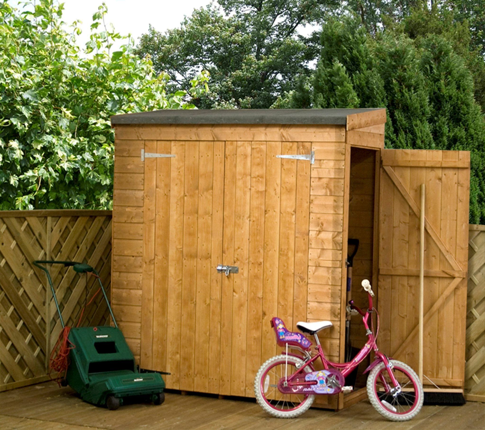 6 Ft W X 2 5 Ft D Wooden Lean To Shed Front And Side Door Shiplap Sheds Garden Storage Shed Bicycle Storage Shed