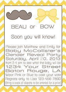 Bow Or Beau Gender Reveal Baby Shower Invitation Digital File 5x7