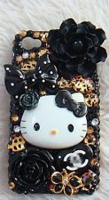 Cute Resin Black Hello Kitty Pearl DIY Deco Den Kit For Cell I Phone 4S 5 Case A