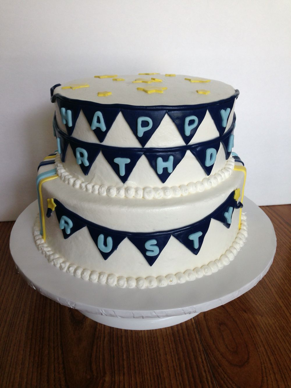 Banner Birthday Cake Flag Bunting Design Matched Birthday Card