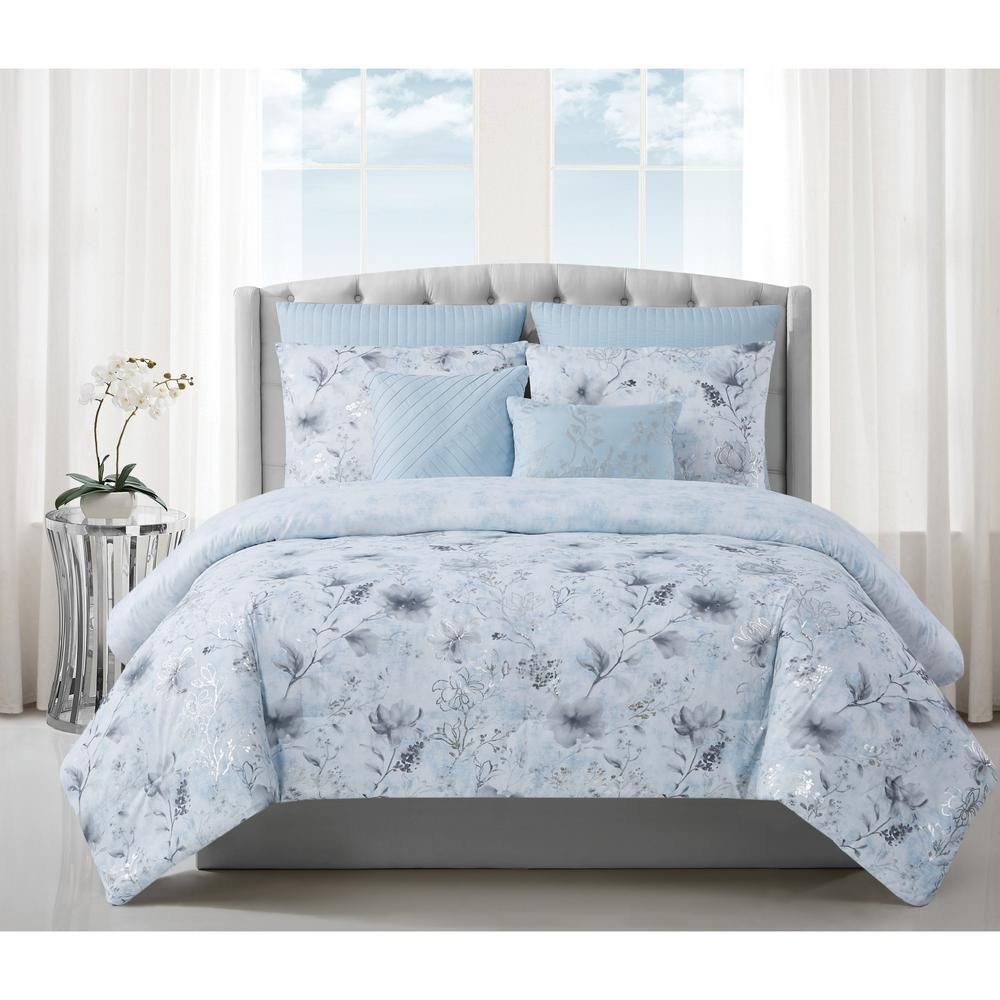 Style 212 Ava 7 Piece Light Blue Polyester Queen Comforter Set In 2020 Queen Comforter Sets Comforter Sets King Comforter Sets