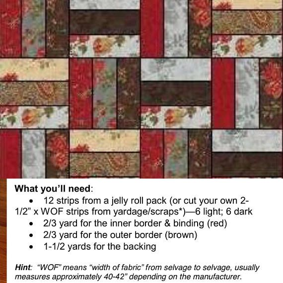 Quilt Pattern For The Double Chocolate Jelly Roll Rail Fence Lap