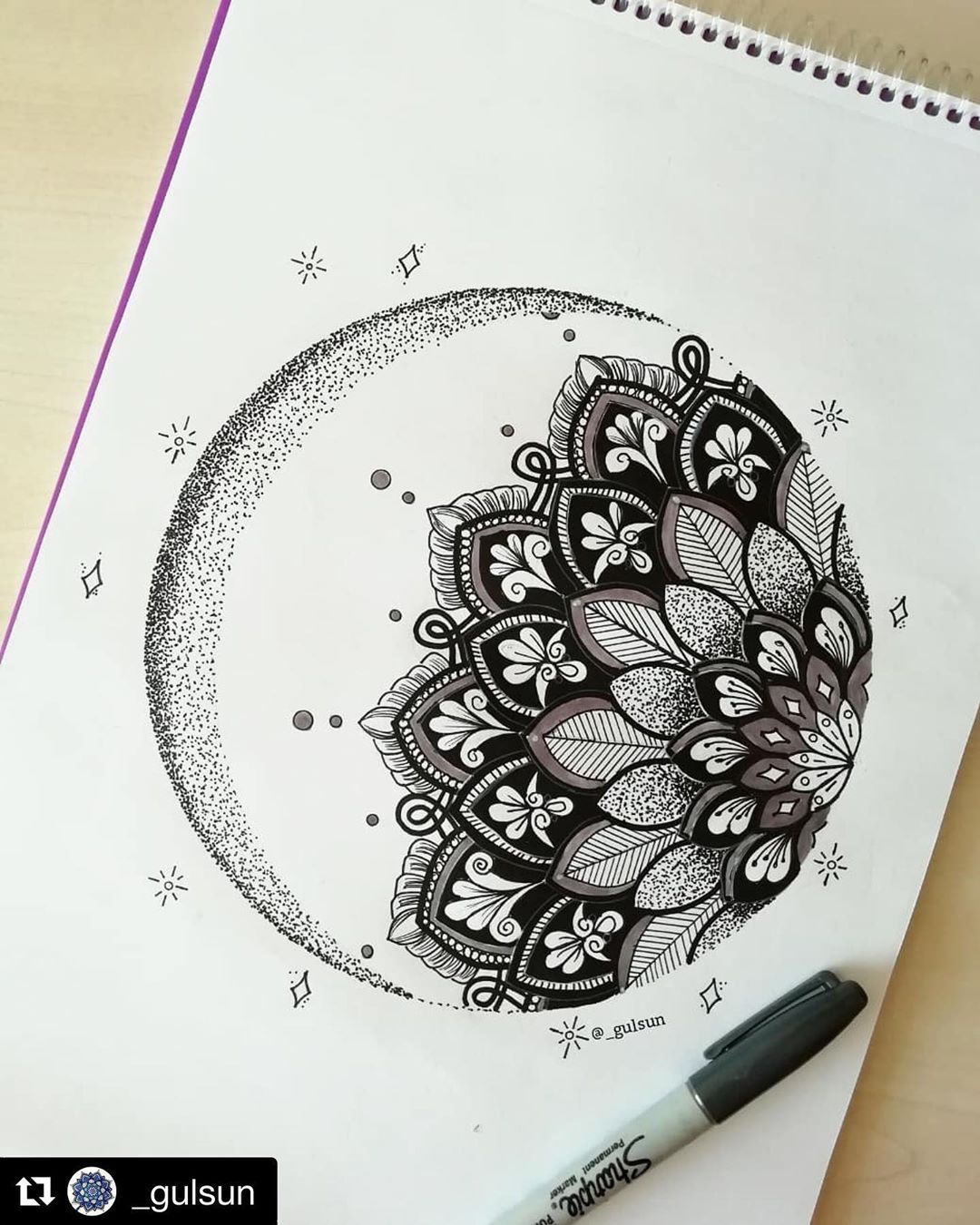 """Photo of Mandala Sharing Page on Instagram: """"#Repost @_gulsun . Tag your work with #ilovesharingmandala ・・・ 🌙🌙🌙 #mandala #mandalas #mandalaart #mandalatattoo #mandalapassion…"""""""