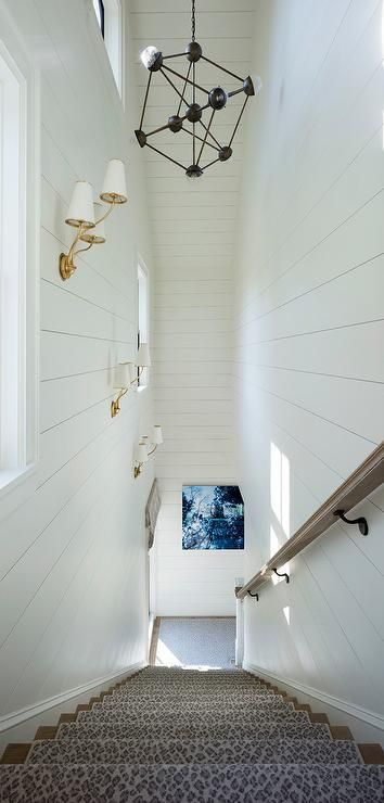 Merveilleux A Narrow Shiplap Staircase Is Accented With A Leopard Print Stair Runner  Illuminated By Aerin Montreuil Small Wall Sconces.