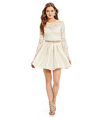 d4ccbc46aede B Darlin Long Sleeve Lace Top TwoPiece Dress  Dillards