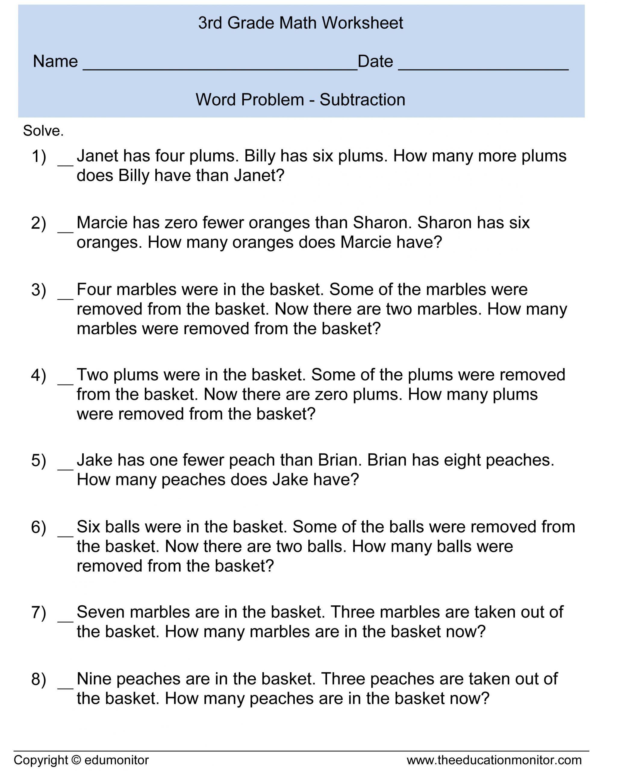 Word Problems Worksheets For Kindergarten Kindergarten