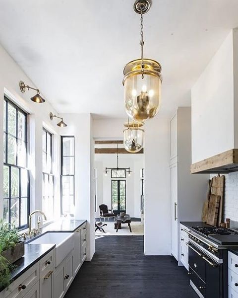 Why White Kitchen Interior Is Still Great For 2019: Black, White + Warm Wood Galley Kitchen! Also This Weeks