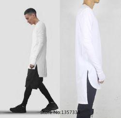 Thumbhole side split t shirt men extended cool oversized