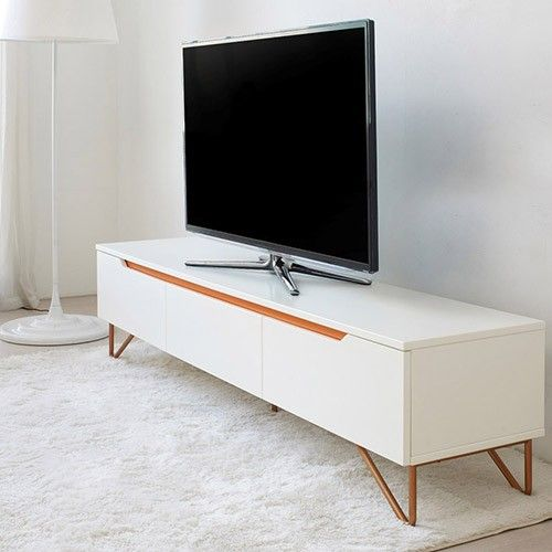 Funk Entertainment Unit White With Copper Legs 999 00 Milan Direct