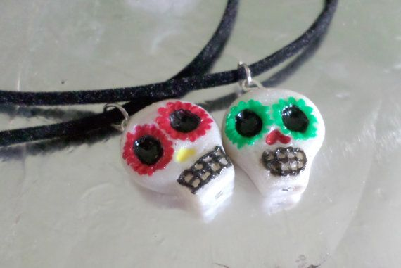 Check out this item in my Etsy shop! I made these awesome sugar skulls! Find them here: https://www.etsy.com/listing/201056484/sugar-skull-necklace-day-of-the-dead