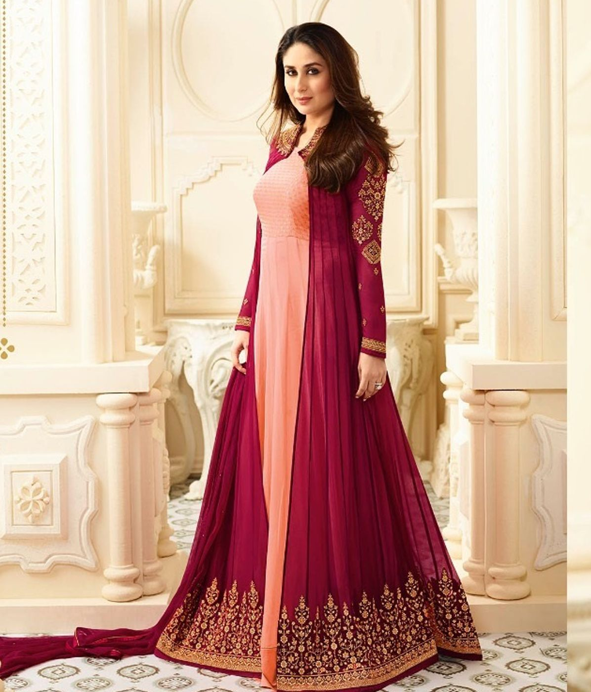 6a078e6e9f Kareena Kapoor Pink and Peach Color Silk Embroidered Party Wear Salwar Suit
