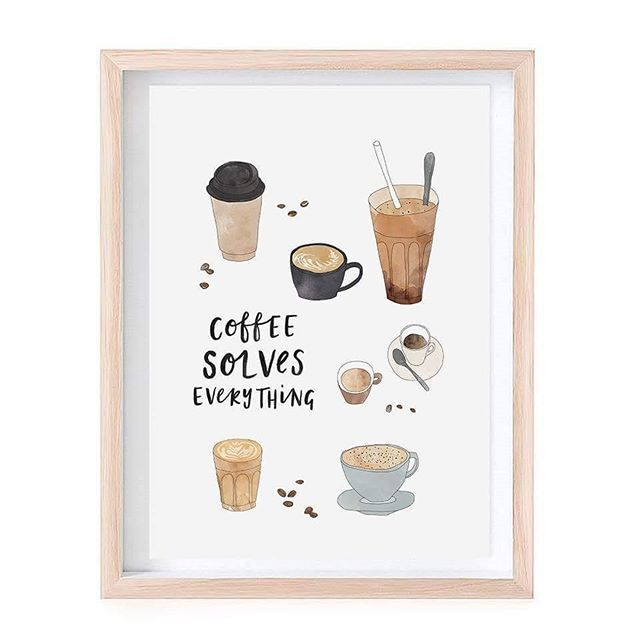 Coffee. Solving problems everywhere 😁👍☕ Coffee solves everything. Coffee print illustration by In the Daylight