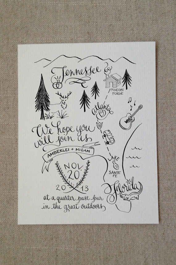 This Unconventional Map Invite Is So Clever For A Nature Or Camping Themed Wedding Illustrated Wedding Invitations Wedding Map Beach Wedding Invitations