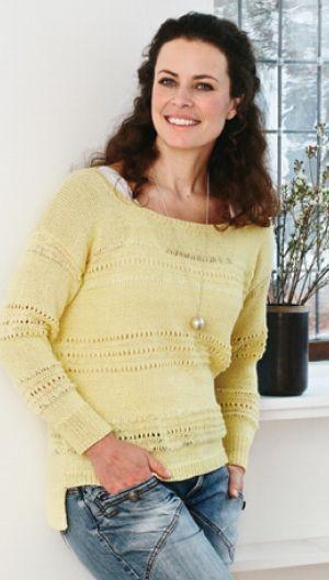 Strikkeopskrift på bluse med hulmønsterstriber, forårsfarver | Håndarbejde