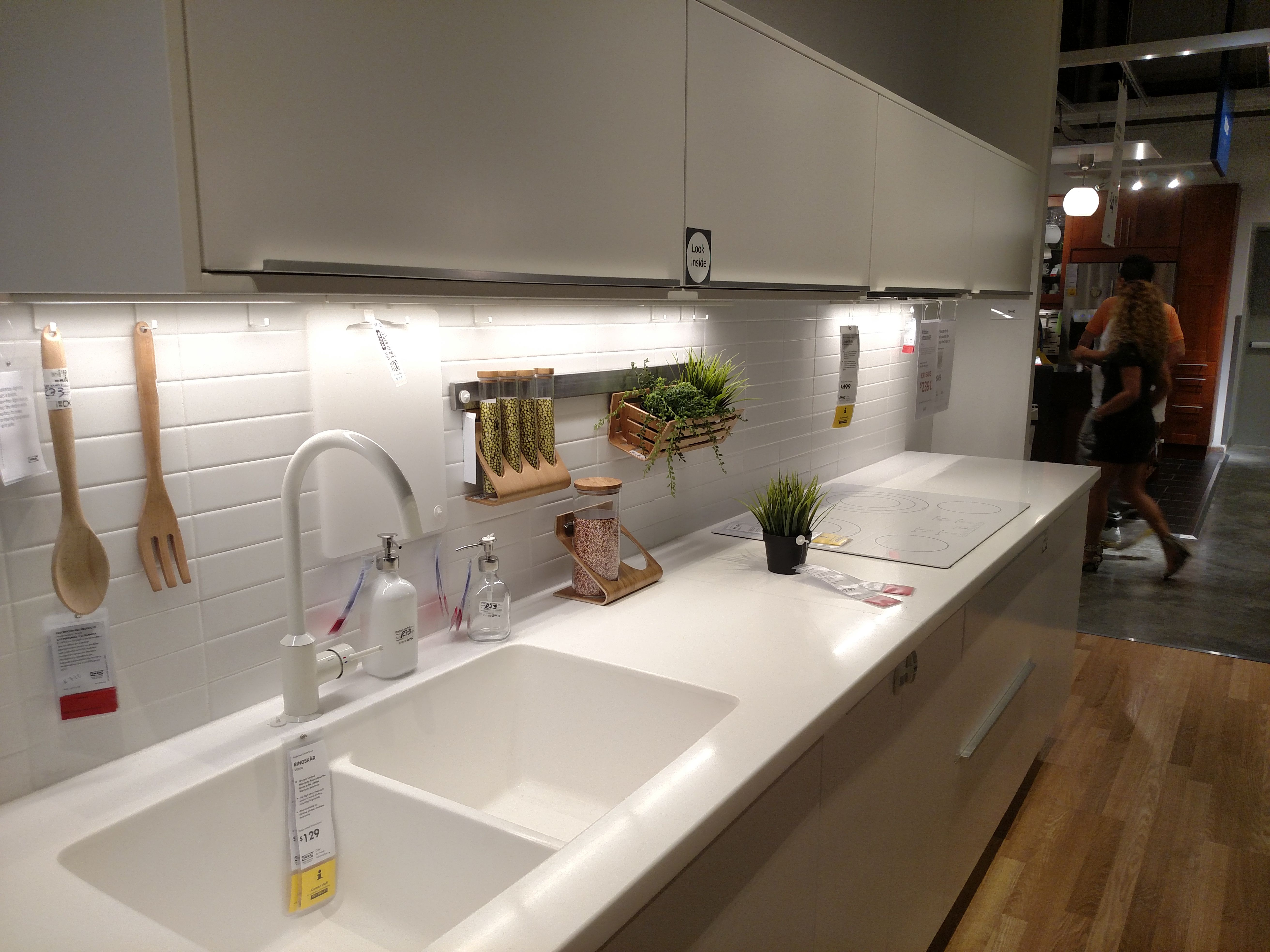 ikea's white personlig acrylic kitchen countertop, integrated sink