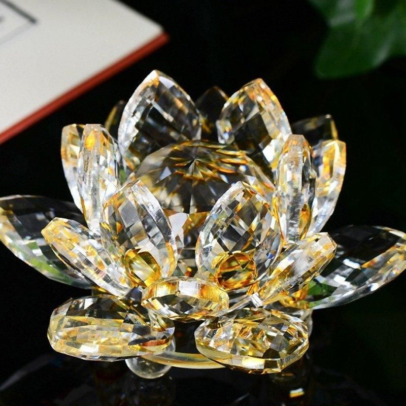 Lotus Crystal Glass Candlestick Figure Paperweight Ornament Feng
