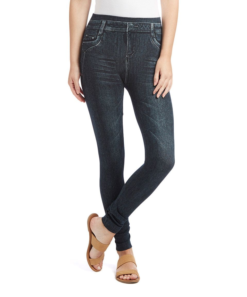 Look at this #zulilyfind! Black Washed Denim-Look Leggings by Poplooks #zulilyfinds