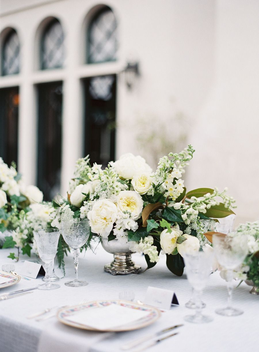 romantic white centerpieces w/peonies, lily of the valley, magnolia ...