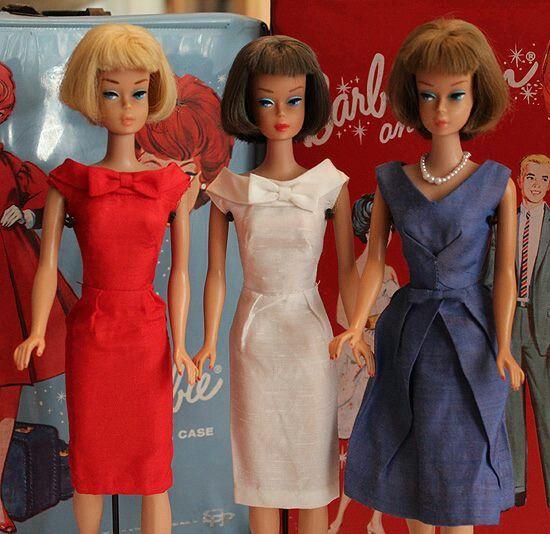 Red, white & blue vintage Barbie dolls!