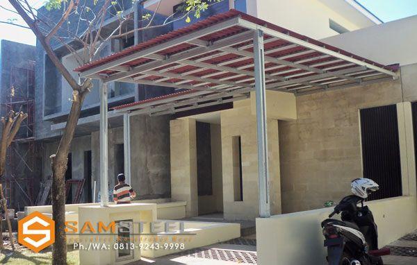 contoh atap baja ringan rumah minimalis rangka kanopi semarang model harga