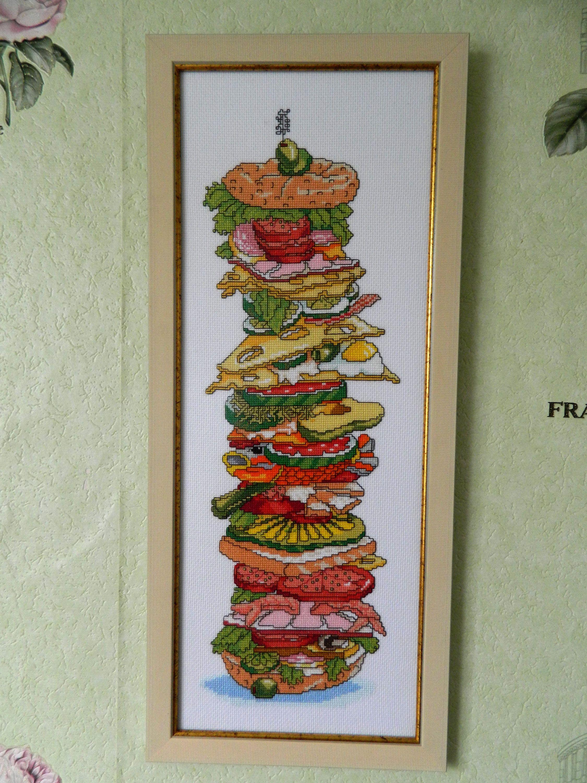 Kitchen finished big cross stitch picture sandwich modern funny