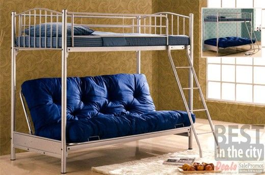 Wimbleton Double Decker Metal Bunk Bed With Futon Sofa Bed Bedding