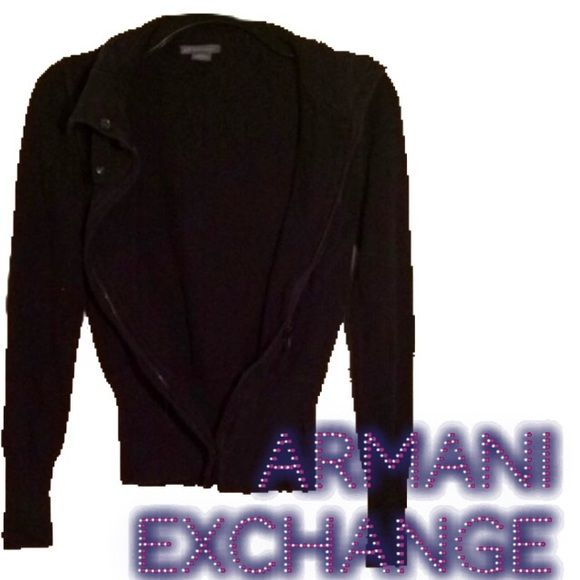 FREE SHIPPING Armani jacket small black This is an adorable light weight #armaniexchangecoat    Or jacket  for a small lady or a med  girl it is in good condition except for the zipper gets stuck. It is #black  with the Armanni A/X detail on the Front left hand side embroidered into the cinch waist The buttons and zippers all say #armani A/X Armani Exchange Sweaters