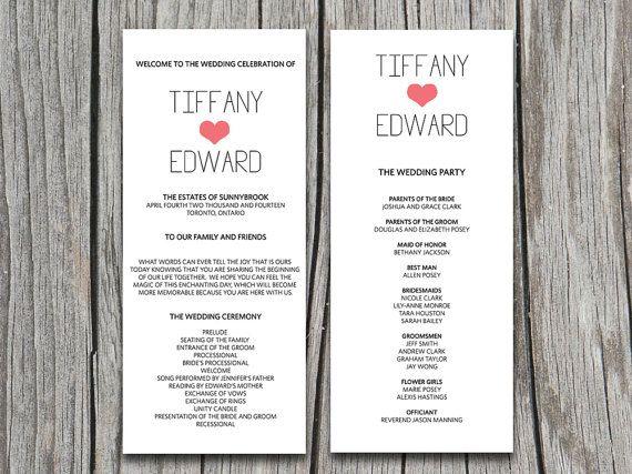 Heart Wedding Program Template Download Diy Typography Ceremony