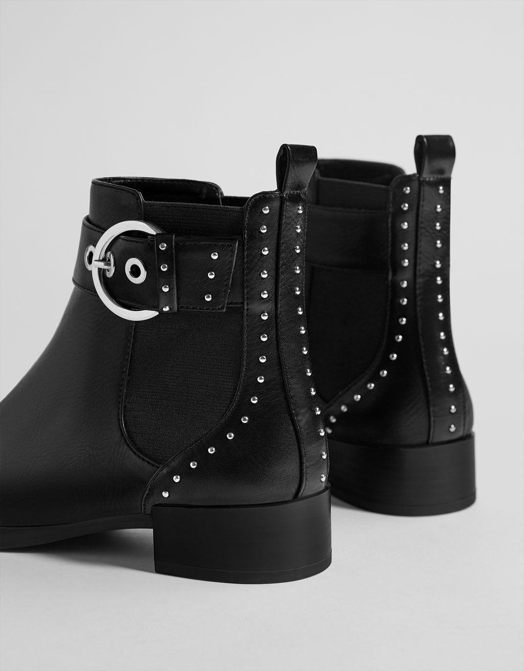 fee5b233 Botines planos elásticos con tachas in 2019 | Shoes | Botines planos ...