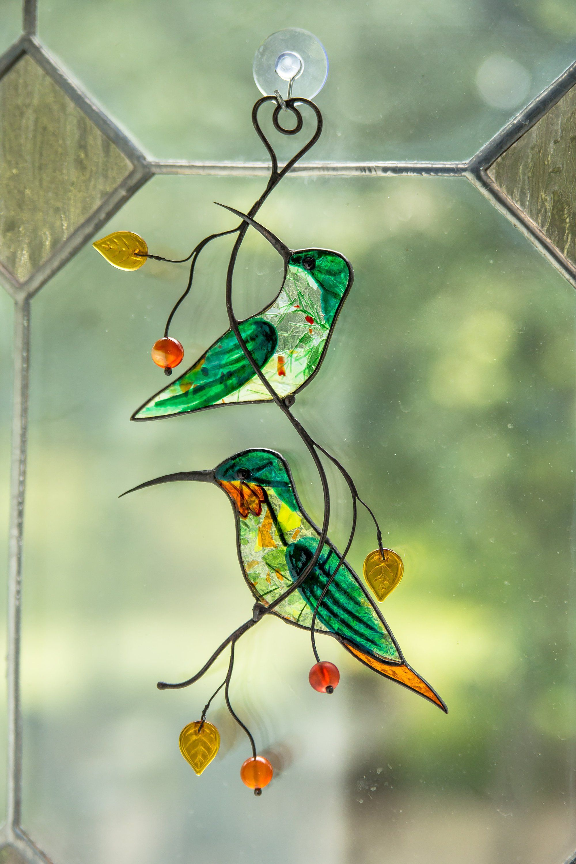 My Etsy Shop Hummingbird Stained Glass Suncatcher Window Hanging