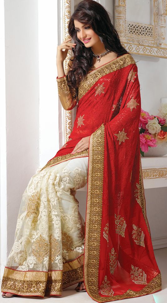 Red And Off White Faux Georgette Resham Work Wedding Saree 39398