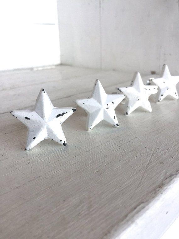 Star Decor, Star Decorations, Star Decoration, White Stars, Decorative Knobs,  Drawer
