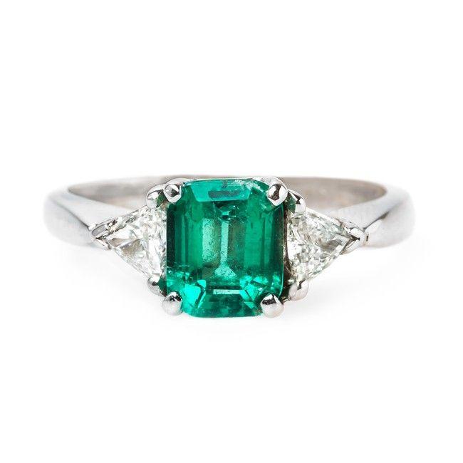 Modern Era Columbian Emerald Engagement Ring With Diamond