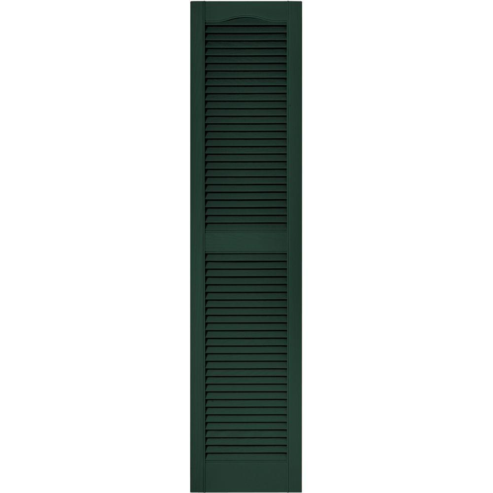Builders Edge 15 In X 64 In Louvered Vinyl Exterior Shutters Pair In 004 Wedgewood Blue 010140064004 The Home Depot Louvered Shutters Vinyl Exterior Shutters Exterior