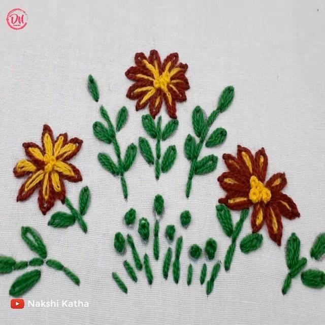 hand embroidery flower design – Handarbeit