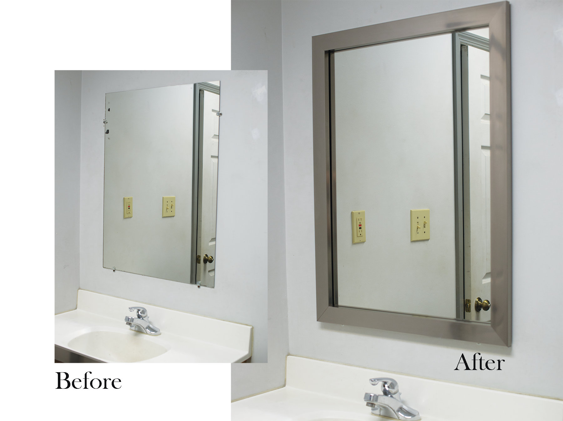 Astounding Before Our Bathroom Mirror Frame Kit Installed After ...