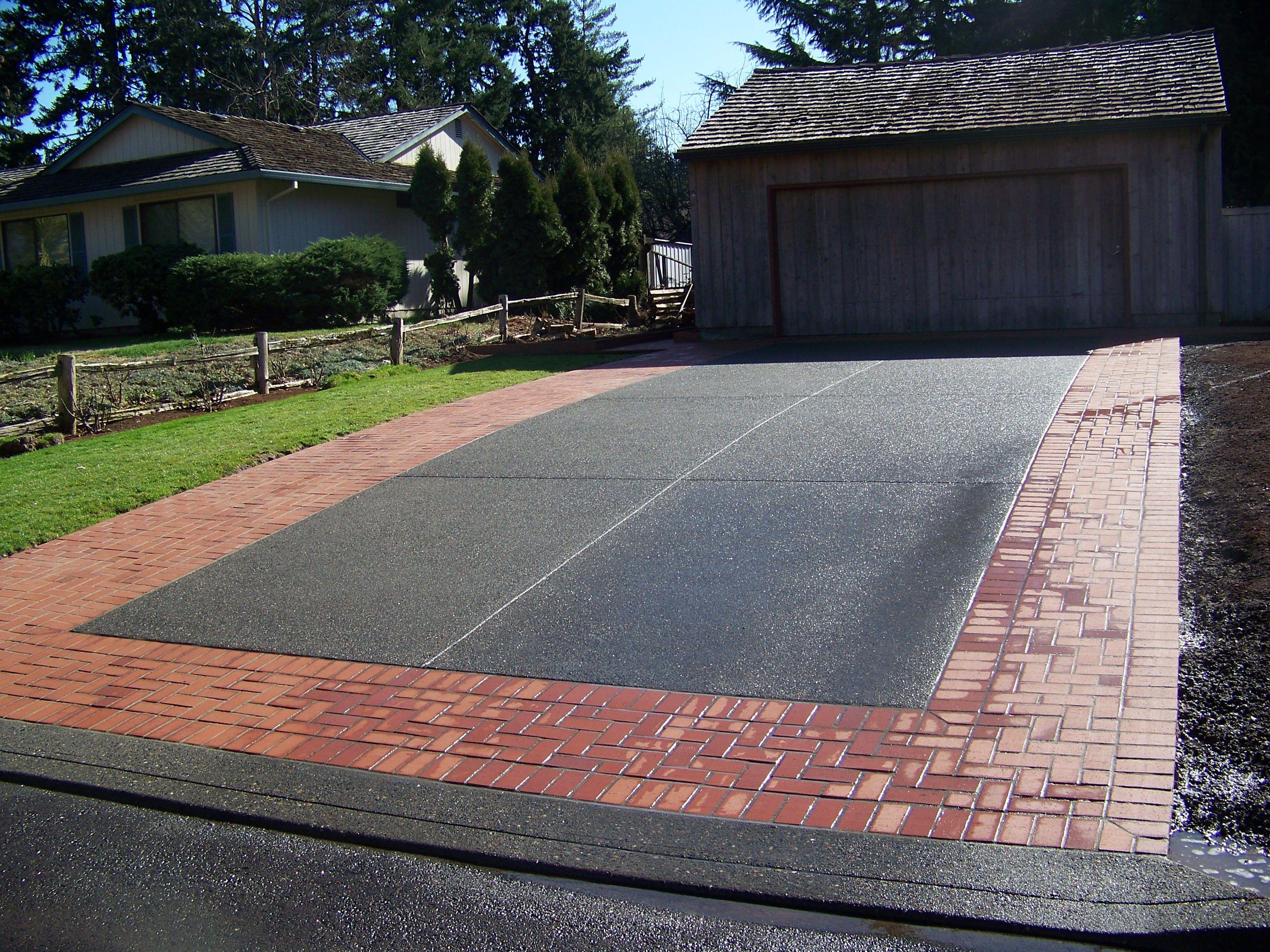 Brick Framed Concrete Driveway