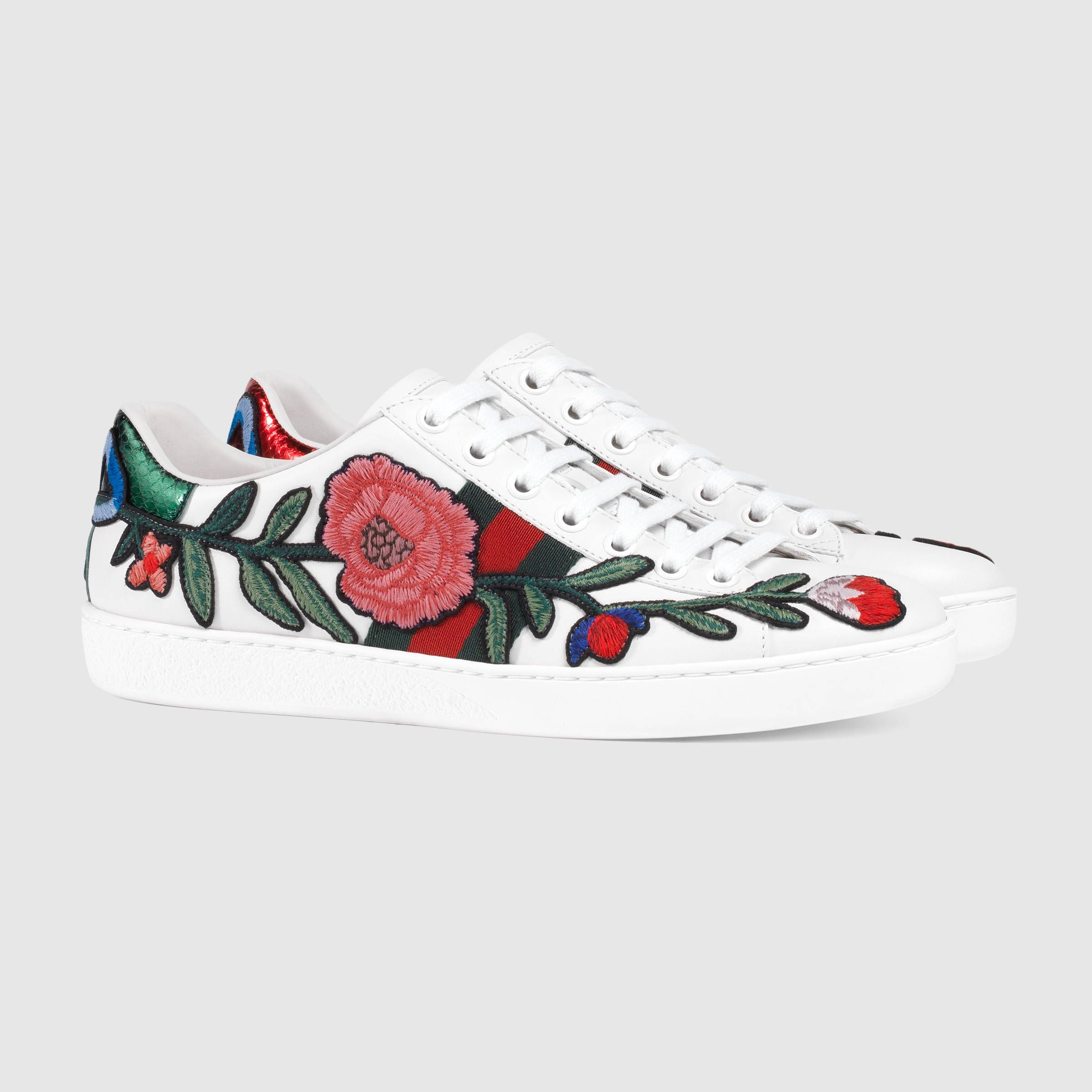 Gucci :: Embroidered sneakers. (Just buy some white leather effect sneakers  + cool