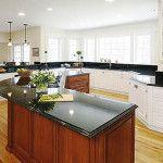 black granite countertops on kitchen island