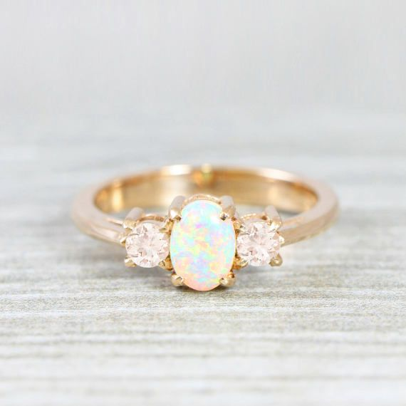 Bien-aimé Opal and morganite engagement ring handmade trilogy three stone in  ED86