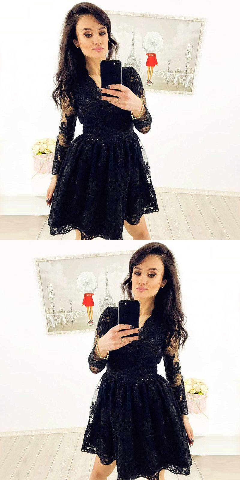 Aline vneck long sleeves black short homecoming dress with lace