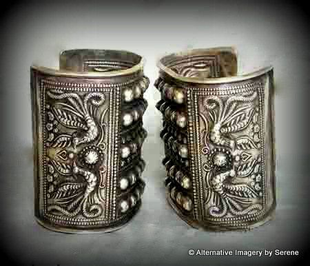 Vintage Sterling Silver Handcrafted Large  Miao Tribal  Phoenix Rising Motif Statement Cuffs