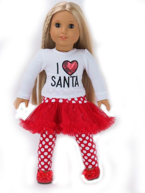 I love Santa Top Christmas Outfit Doll Clothes Fits 18 Inch American Girl  #18inchdollclothes - I Love Santa Top Christmas Outfit Doll Clothes Fits 18 Inch American