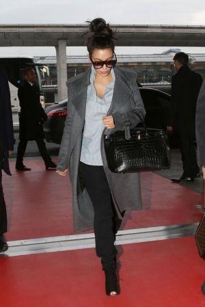 271a66773804 Kim Kardashian wearing Hermes 35cm Birkin Bag in Black Croc