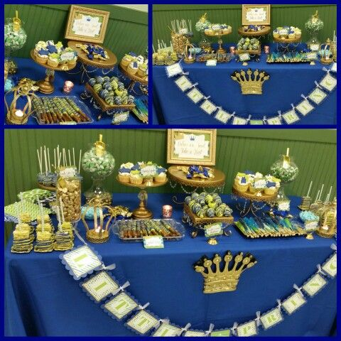 green royal blue white prince themed baby shower dessert table