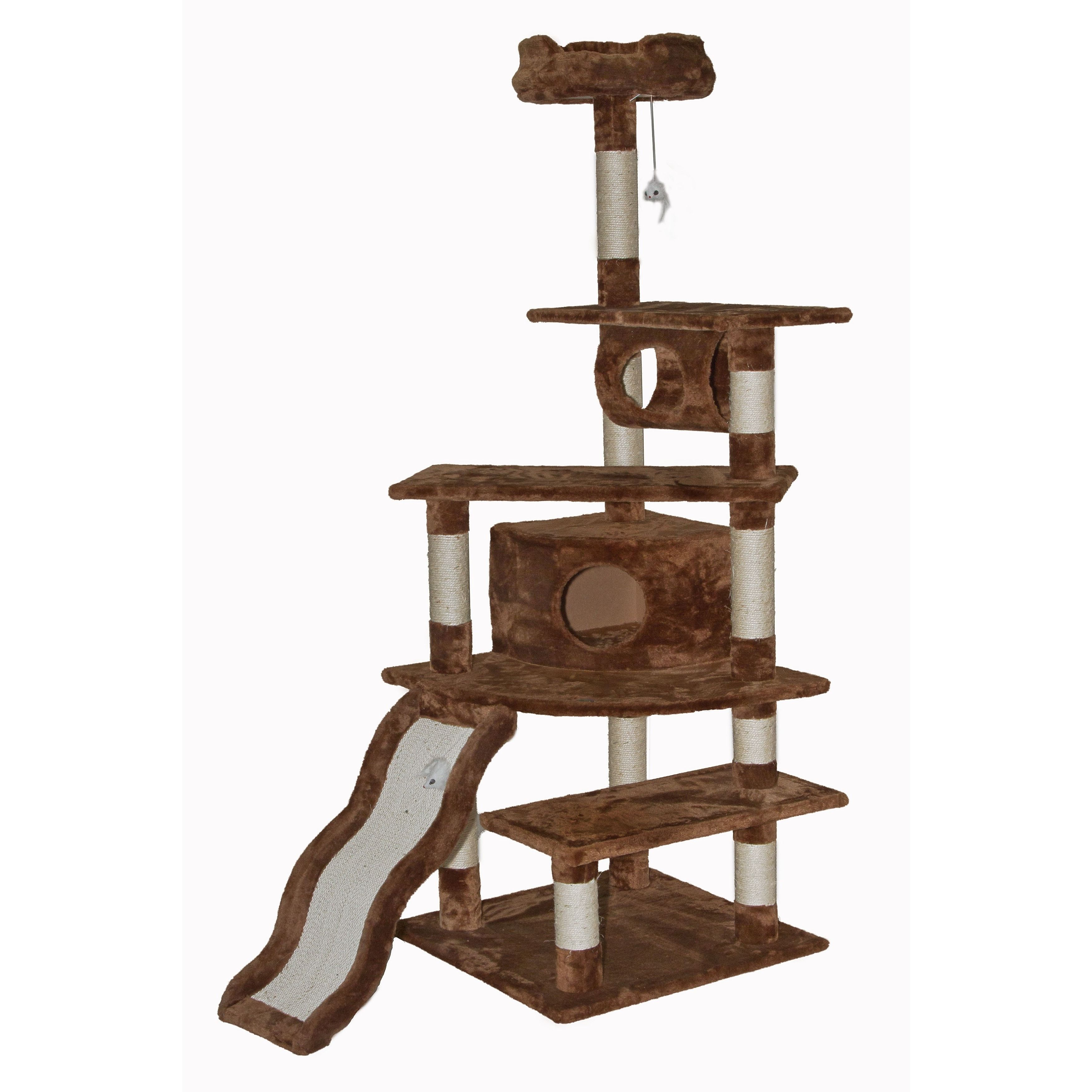Go Pet Club Brown 70 inch High Cat Tree Furniture Overall Size