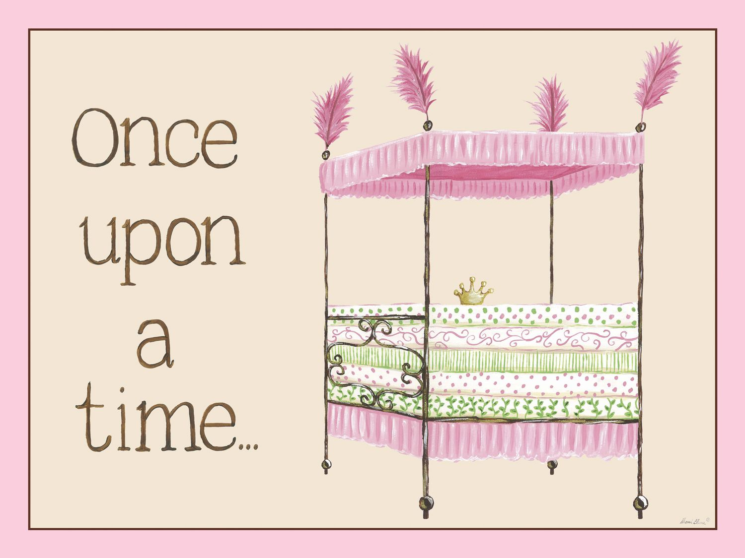 Regal storybook bed in pink canvas wall art by sherri blum