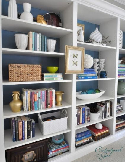 Love The Bright White Book Shelf System Which Include A Pop Of Color On The Back Wall Home Office Design Ikea Bookshelves Trendy Home